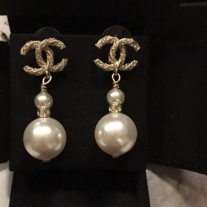 Chanel Gold and Crystal Dangling Pearl Earrings